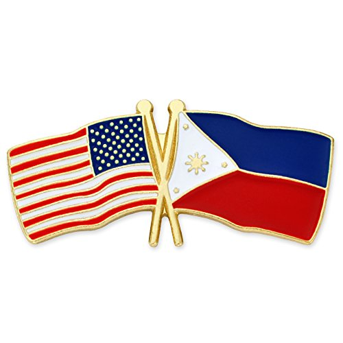 PinMart's USA and Philippines Crossed Friendship Flag Enamel Lapel Pin