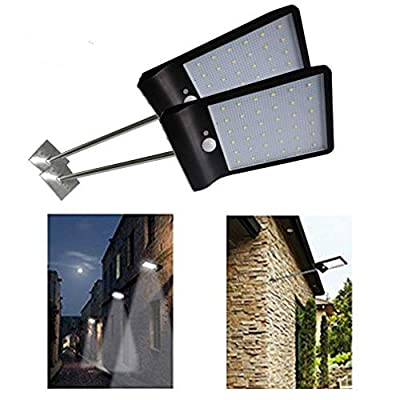 DiDoDs 2 Pack Solar Gutter Lights Wall Sconces with Mounting Pole Outdoor Motion Sensor Detector Light Security Lighting for Barn Porch Garage