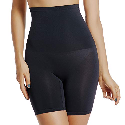 Joyshaper Slip Shorts for Under Dresses Women High Waist Tummy Control Panties Thigh Slimmer Shapewear (Black