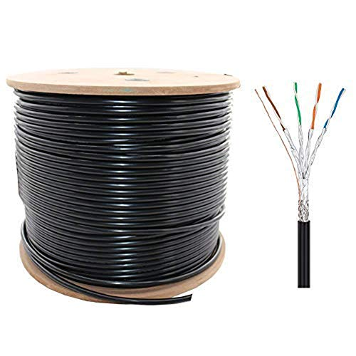 CAT 7 Bulk Cable, 650 ft 26AWG S-STP Heavy-Duty Cat7 Networking Cord Patch Cable 10 Gigabit 600Mhz Waterproof Direct Burial Bulk Cat7 Ethernet - 650 Cable