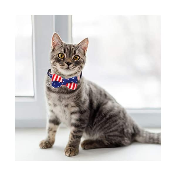PAWCHIE American Flag Cat Collars Breakaway, 2 Pack Bow Tie Collar for Cats with Bell, Adjustable 6