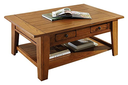 Steve Silver Liberty Cocktail Table w 2 Drawers in Rustic Oak