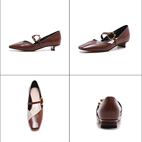 Mary Cuir Carrée pour Black à pour Femmes Assorti Tête Chaussures Couleur en Chaussures Métal DKFJKI Escarpins Femmes Jane Fn6Sv1