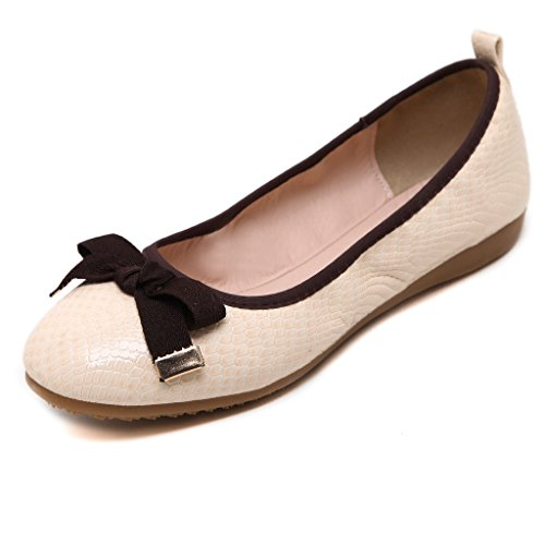 Fortuning's JDS Soft-soled Sweet Round-headed Casual Egg Roll shoes Off white CqMArTL