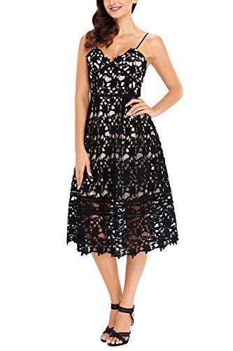 GOSOPIN Women A Line Lace V-Neck Cocktail Party Midi Skirt Spaghetti Strap Dress Large Black