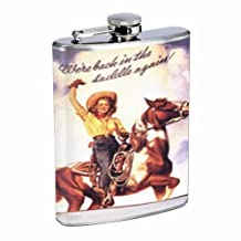 Western Pin Up Girl With Horse 8OZ Stainless Steel Flask D-240