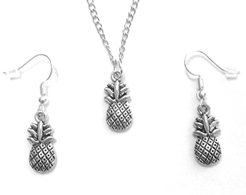 Beasthwaite Design Pineapple Pendant Necklace and Earring Jewelry Set for Women or Girls