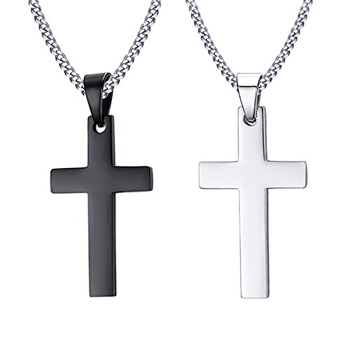 MP 2Pcs Men's Stainless Steel Simple Plain Cross Pendant Necklace with 60cm Cuban Chain,Silver Black