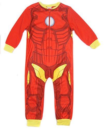 Superhero Boys Iron Man Avengers All In One Sleepsuit Soft Fleece (3-4 Years, Iron Man)