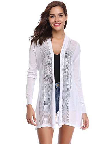 White Womens Sweater - Abollria Womens Casual Long Sleeve Open Front Cardigan Sweater(White,L)