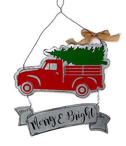 Hanna's Christmas Metal Sign Merry & Bright Antique Truck and Tree Rustic Galvanized Tin Wall Front Door Wreath Decor Indoor Outdoor 16