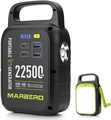 MARBERO 22500mAh Portable Charger with Bright LED Flashlight for Camping, Small Power Station QC/PD 3.0 Charges Quickly for iPhone, Samsung, iPad, Special Hand-cranked
