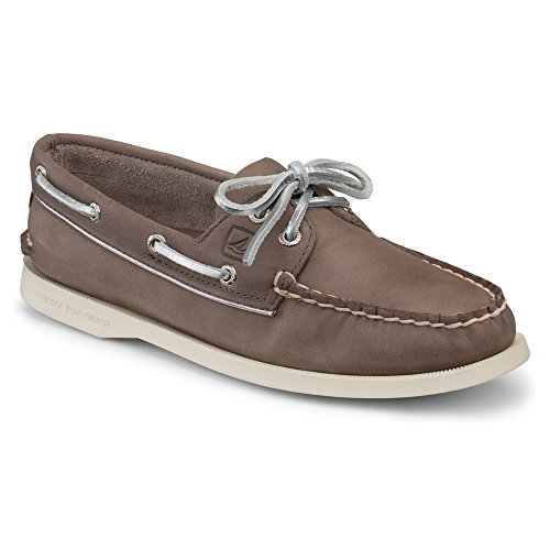 Sperry Women's A/O Metallic Piping Griege/Silver Leather 5.5