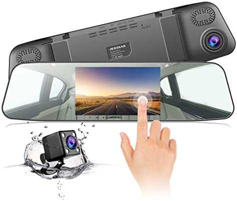 "Jeemak Mirror Dash Cam for Cars 1080P Full HD 7"" Touch Screen Backup Camera Front and Rear View Dual Lens with Waterproof Reverse Camera (Update)"
