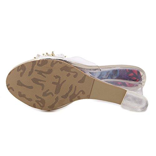 Señoras Mujer Nuevo Wedge zapatos de tacón alto Sandalias Peep Toe Plataforma Transparente PU Rhinestones Otoño Primavera Spring Club Parte Dressy Oro