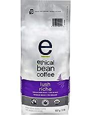 Ethical Bean Fair Trade Organic Coffee, Lush Medium Dark Roast, Whole Bean Coffee - 907g (2lb) Bag