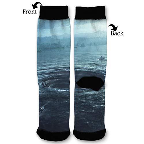 Leisue Natural Disaster Tornado Art High Ankle Sock, Soft Cotton Breathable Polyester Crew Socks for Women - Royal Tornado Socks