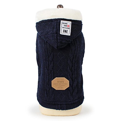 (Howstar Puppy Winter Sweater, Doggy Hoody Pullover Knitted Warm Pet Clothing (Dark Blue,)