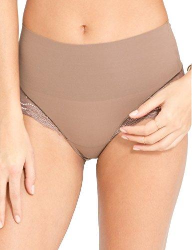 Spanx Womens Lace Trim Hi-Cut Hiphugger Panty Beige XS