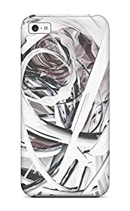 Rugged Skin Case Cover For Iphone 5c- Eco-friendly Packaging(artistic Patterns White Abstract Other)