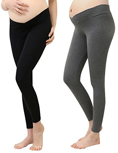 Foucome 2 Pack Women's Maternity Legging Under The Belly Super Soft Support Seamless Elastic Pants Dark Gray + Black Low Rise Capri Leggings Pants