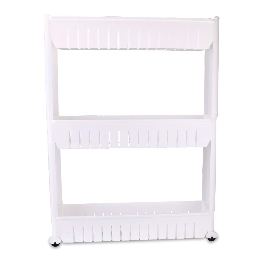 Kitchen Storage Rack with Wheels Bedroom Storage Shelving Trolley 3 Tiers Slide Out Removable Bathroom Storage Shelf Easy to Assemble by Hengory (Image #1)
