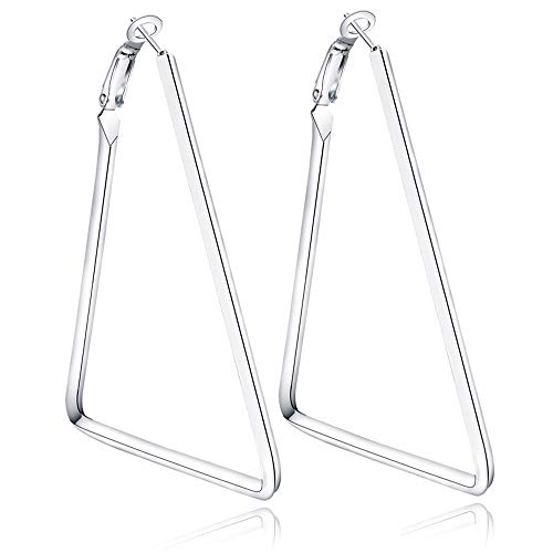 Cereza Women Stainless Steel Simple Geometric Hoop Earring (Triangle-Silver)