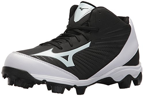 (Mizuno Men's 9-Spike Advanced Franchise 9 Molded Cleat-Mid Baseball Shoe, Black/White, 9 D US)