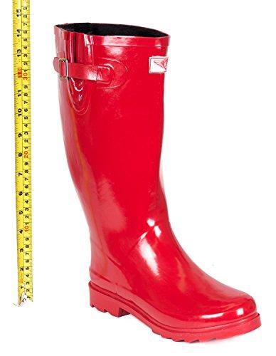 Faux Fur Rain Boots Red Lined Rubber Warm Women's vZxOzq