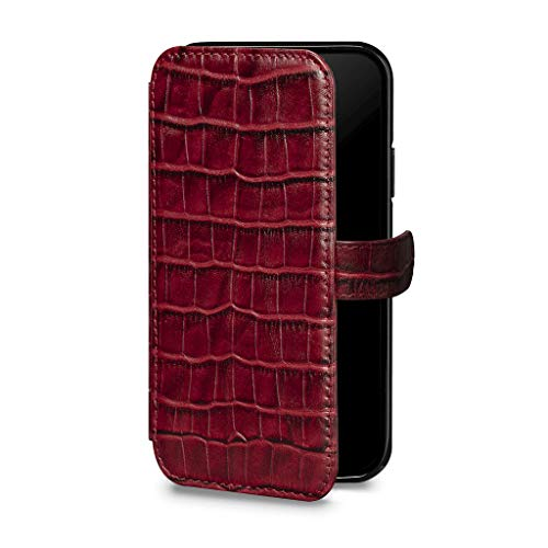Wallet Book Classic Leather Cell Phone Case for iPhone XS Max - Wireless Charging Compatible - Crimson