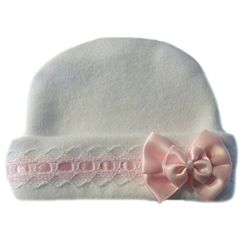 Jacqui's Baby Girls' Lovely White Hat with Pink Lace Trim, Micro Preemie ()