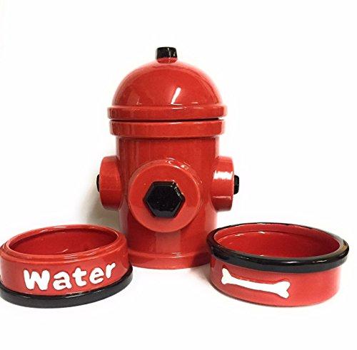 Tristar Hydrant Dog Feeding Station & Storage 4 Pc Ceramic Bowl Jar Dog Treating Container Holder by Tristar Products-us