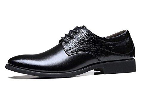 GRRONG Zapatos De Cuero De Los Hombres Al Apuntado Vestimenta Formal Ocio Negro Marrón Black