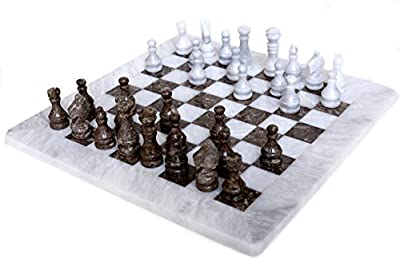 RADICALn 16 Inches Handmade White and Grey Oceanic Marble Full Chess Game Original Marble Chess Set