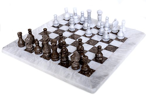 RADICALn 16 Inches Large Handmade White and Grey Oceanic Weighted Marble Full Chess Game Set for Adults Staunton and Ambassador Gift Style Tournament Chess Sets -Non Wooden -Non Glass -Not Backgammon
