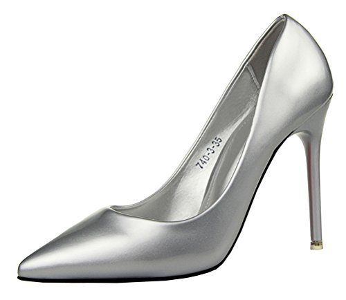 Rally Driver Costume (T&Mates Womens Sexy Pointy Toe Stiletto Pumps Slip-on Dress High Heels Basic Shoes for Party Wedding (8 B(M)US,Silver))