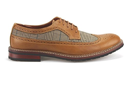 Ferro Aldo Mens 19312A Houndstooth Wing Tip Lace Up Two Tone Oxfords Dress Shoes Brown VMKGI