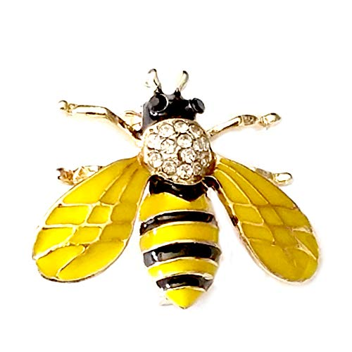 Gold Enameled Bumble Bee - Joji Boutique: Golden Bejeweled and Enameled Bumble Bee Pin