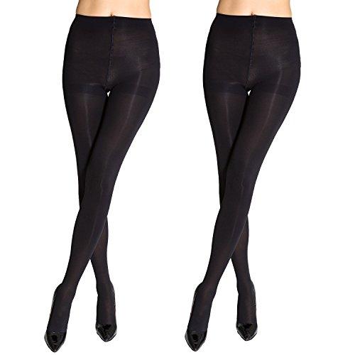 Manzi Women Tights, 80 Den superfine fiber Opaque Control Top Pantyhose XL (Two Pairs) ()
