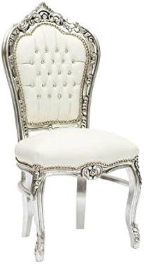 MAXIOCCASIONI Sedia in Stile Barocco Struttura in Legno Finitura Argento, Ecopelle Colore Bianco