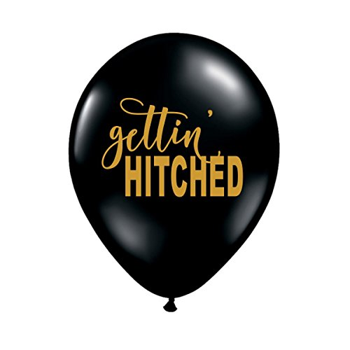 Getting Hitched (Gettin' Hitched, Black Getting Hitched Balloons, Bachelorette Party Balloons, Western Bachelorette Decorations, Western Engagement Party Balloons, Hitched, Engagement Photo Prop, Set of 3)