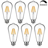 LED Edison Bulb Dimmable, 60W Equivalent 800Lumens, Warm White 2700K, 6W ST64 Vintage LED Filament Light Bulbs, E26 Medium Base, Pack of 6