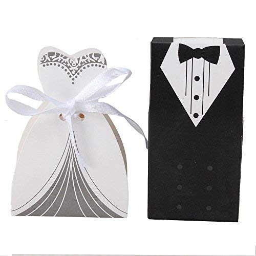 IGBBLOVE 100Pcs Wedding Favor Candy Box Bride & Groom Dress Tuxedo Party Favor- pack of 100 (And Boxes Bride Favor Groom)