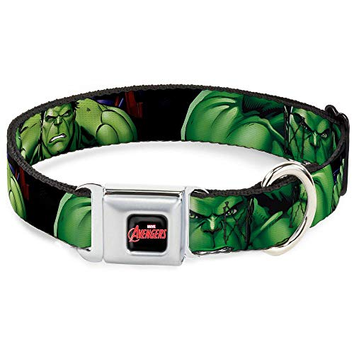 Buckle-Down Seatbelt Buckle Dog Collar - Marvel Hulk CLOSE-U