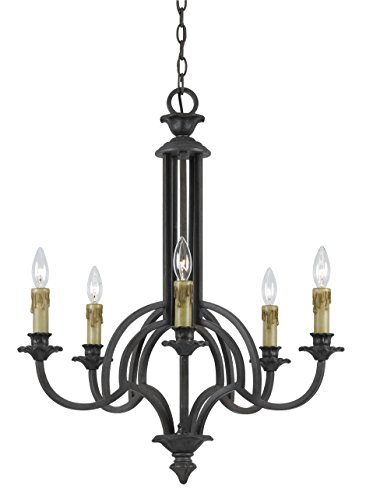 Cal Lighting FX-3513/5 60-watt X 5 Elberton Hand Forged Iron 5 Light Chandelier ()