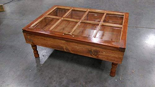 Storage Coffee Table Shadow Box Military Display Beach House Furniture Glass Top 8 Pane Wood Window Frame