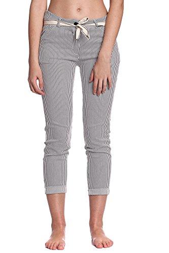 Abbino 6039 Pantalones para Mujer - Hecho en ITALIA - Colores Variados - Entretiempo Primavera Verano Otoño Moderno Fashion Elegantes Rebajas Encanto Sensibilidad Atractivo Sintético Elegante Negro (Art. 6039-1)