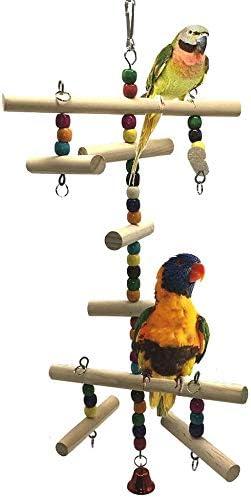 Gxklmg Juguete de Madera Escala Que Sube de pájaro del Loro del Cockatiel Parakeet Conure los pájaros del Amor Finch Gris Africano Macaw del Amazonas Jaula Perch