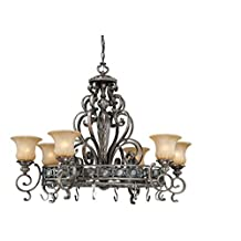 Vaxcel USA BGPDB420PZ Bellagio 8 Light Foyer Pendant Lighting Fixture in Bronze, Glass