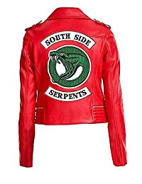 Vikings Fashion Womens Serpents Gang Red Cheryl Blossom Red Faux Leather Biker Jacket